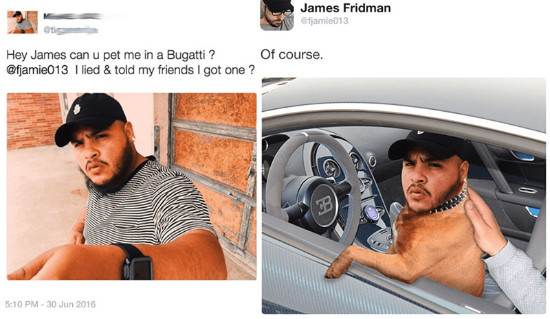Product - James Fridman @fjamie013 Of course. Hey James can u pet me in a Bugatti? @fjamie013 I lied & told my friends I got one? 5:10 PM-30 Jun 2016