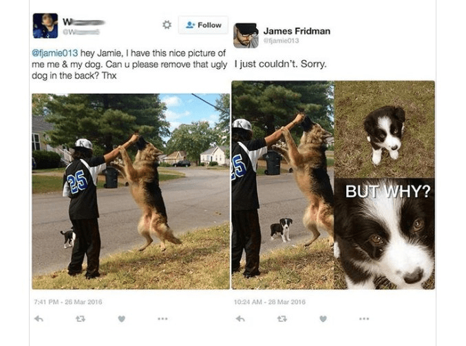 Dog - Follow James Fridman ejamie013 @jamie013 hey Jamie, I have this nice picture of me me & my dog. Can u please remove that ugly dog in the back? Thx Ijust couldn't. Sorry. 25 BUT WHY? 7:41 PM-26 Mar 2016 10:24 AM-28 Mar 2016