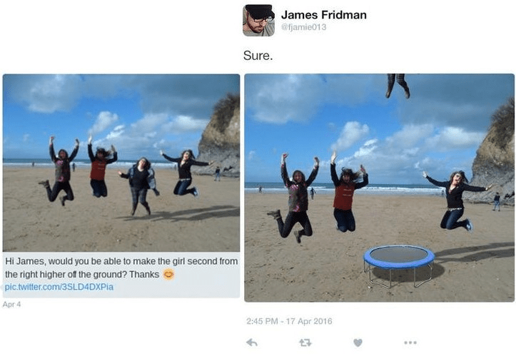 Photography - James Fridman @fjamie013 Sure *t* T Hi James, would you be able to make the girl second from the right higher of the ground? Thanks pic.twitter.com/3SLD4DXPia Apr 4 2:45 PM- 17 Apr 2016
