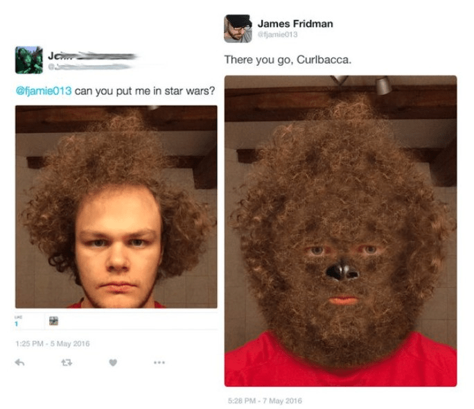 Hair - James Fridman efjamie013 Je There you go, Curlbacca. @fjamie013 can you put me in star wars? 1:25 PM-5 May 2016 5:28 PM-7 May 2016
