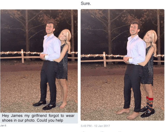 Photograph - Sure. Hey James my girlfriend forgot to wear shoes in our photo. Could you help 5:49 PM-12 Jan 2017 Jan 6