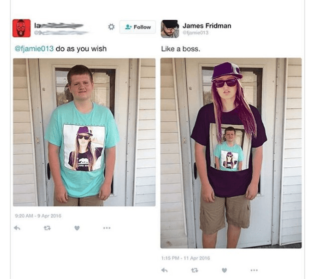 Clothing - la James Fridman eamie013 Follow @fjamie013 do as you wish Like a boss. 9:20 AM-9 Apr 2016 t3 1:15 PM-11 Apr 2016