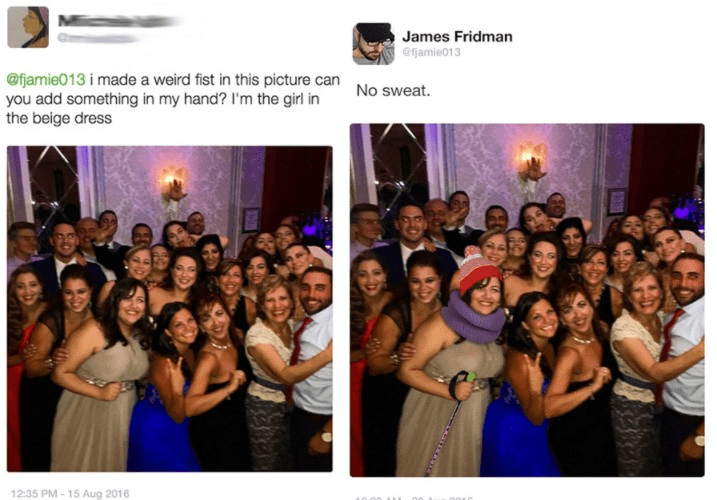 Photograph - James Fridman @fjamie013 @fjamie013 i made a weird fist in this picture can you add something in my hand? I'm the girl in the beige dress No sweat. 12:35 PM-15 Aug 2016