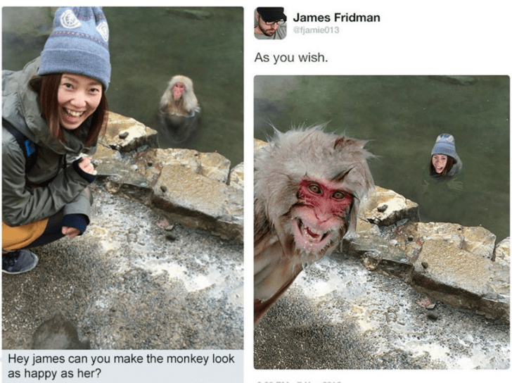 Adaptation - James Fridman afjamie013 As you wish. Hey james can you make the mon key look as happy as her?