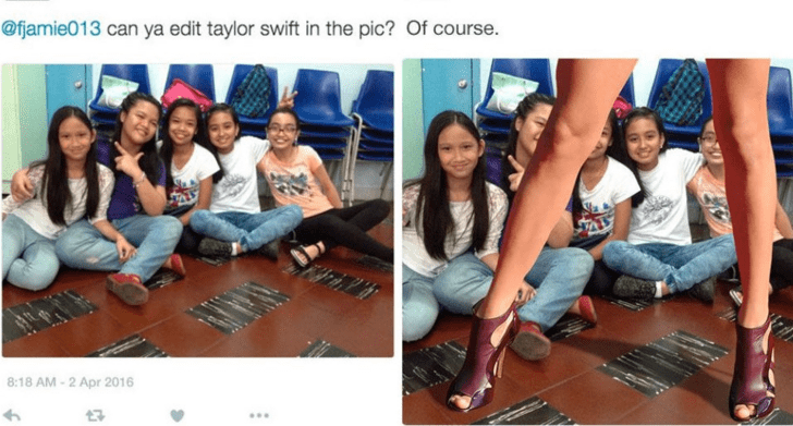 Social group - @fjamie013 can ya edit taylor swift in the pic? Of course. 8:18 AM-2 Apr 2016