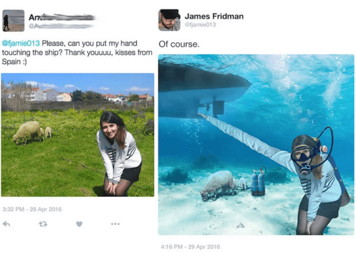 Adaptation - James Fridman Ar @fjamie013 @fjamie013 Please, can you put my hand touching the ship? Thank youuuu, kisses from Spain:) Of course. 3:32 PM-28 Apr 2016 4:16 PM-29 Apr 2016
