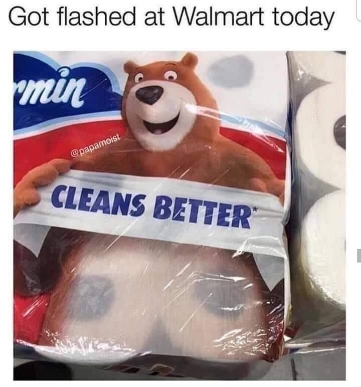 """Funny meme that reads, """"Got flashed at Walmart today"""""""