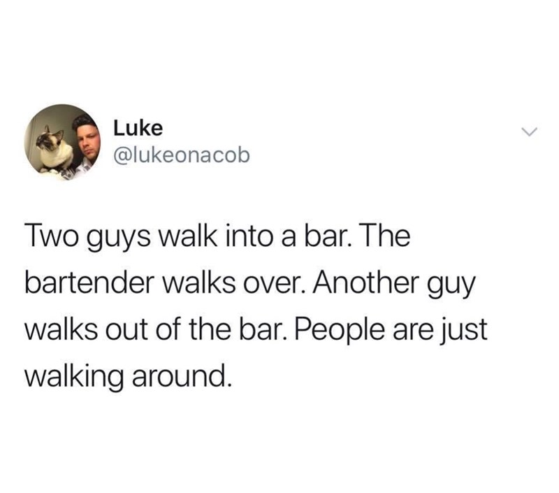 Text - Luke @lukeonacob Two guys walk into a bar. The bartender walks over. Another guy walks out of the bar. People are just walking around