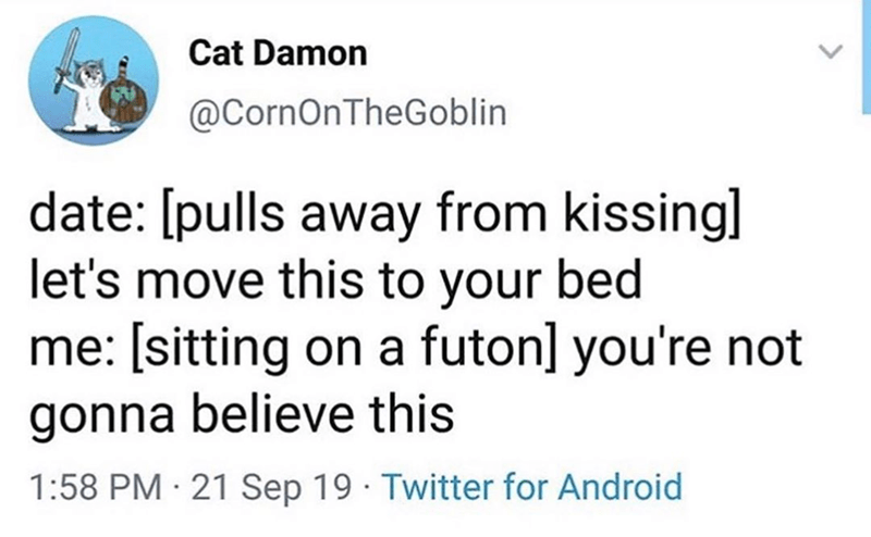 Funny meme about futons, dating, funny tweets.