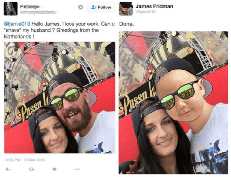 "Eyewear - Fr Follow James Fridman ofamie013 @fjamie013 Hello James, I love your work. Can u Done. ""shave"" my husband ? Greetings from the Netherlands! PusSu SPaessn 11:58 PM-15 Mar 2016"