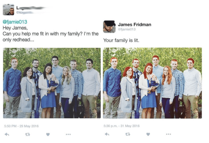 Photograph - @fjamie013 Hey James, Can you help me fit in with my family? I'm the only redhead... James Fridman efjamie013 Your family is lit. 5:50 PM-29 May 2016 5:36 p.m. -31 May 2016