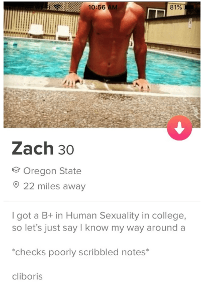 Arm - 81% 10:56 AM Zach 30 Oregon State 22 miles away I got a B+ in Human Sexuality in college, so let's just say I know my way around a checks poorly scribbled notes* cliboris