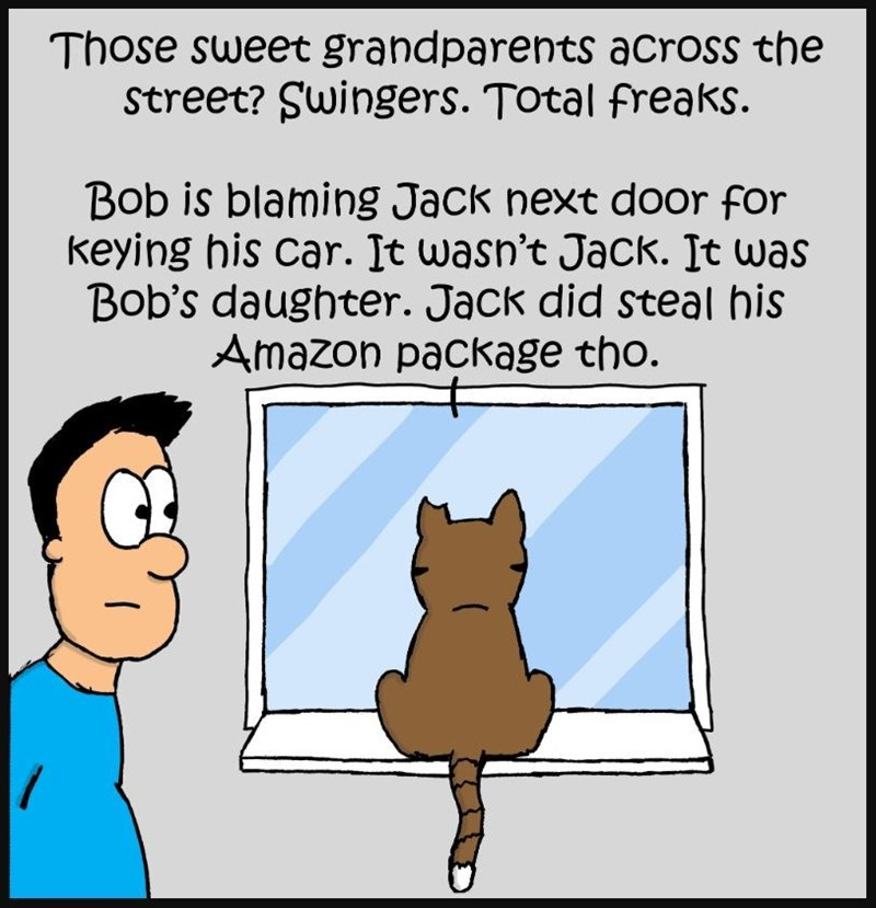 Cartoon - Those sweet grandparents across the Street? Swingers. Total freaks. Bob is blaming Jack next door for keying his car. It wasn't Jack. It was Bob's daughter. Jack did steal his Amazon package tho.