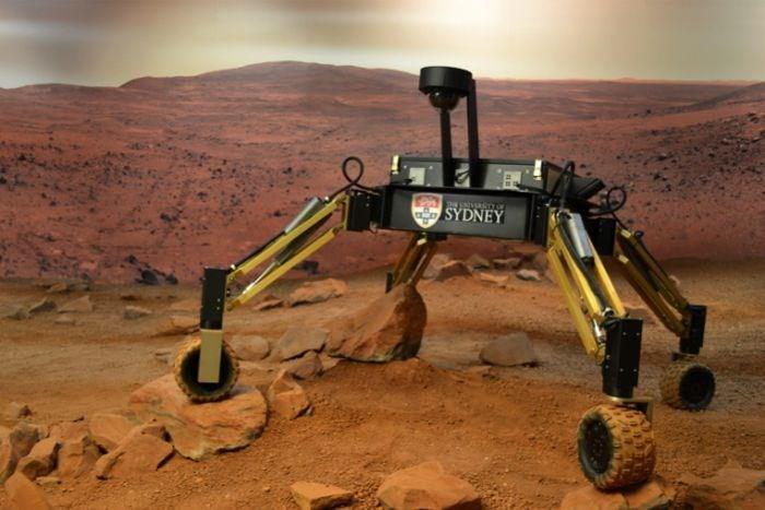 autonomous machine in red desert