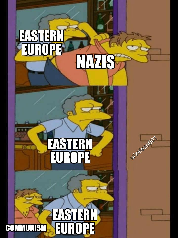 Cartoon - EASTERN EUROPE NAZIS EASTERN EUROPE u/zelezo001 EASTERN COMMUNISM EUROPE