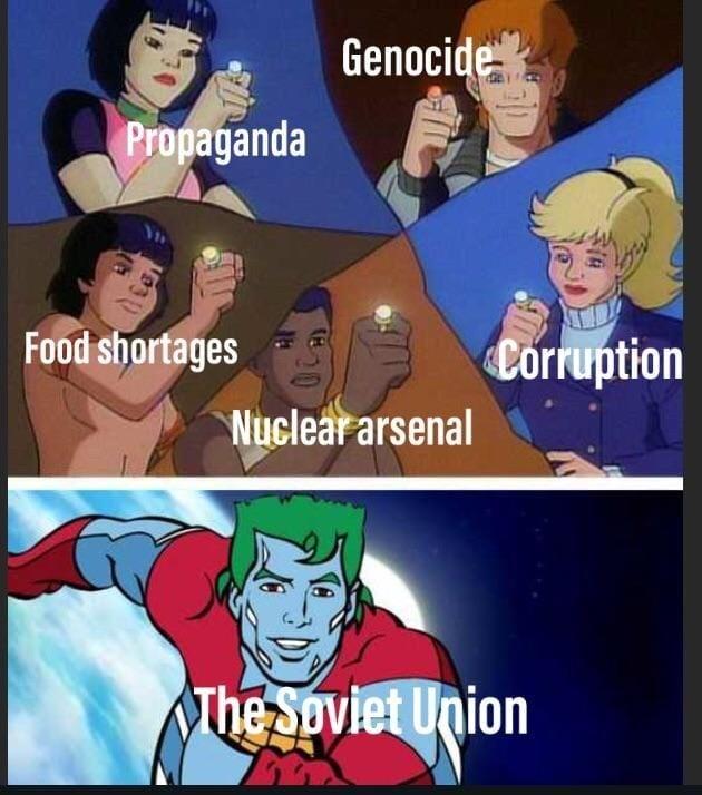 Cartoon - Genocide Propaganda Food shortages Corruption Nuclear arsenal The Soviet Union 20