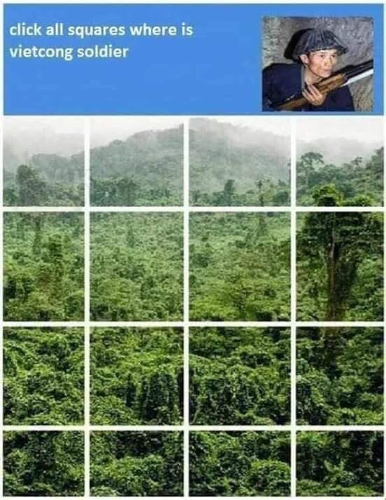 Vegetation - click all squares where is vietcong soldier