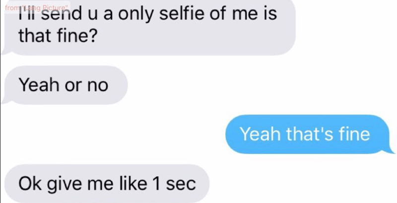 Text - THl send u a only selfie of me is that fine? from ng Picture Yeah or no Yeah that's fine Ok give me like 1 sec
