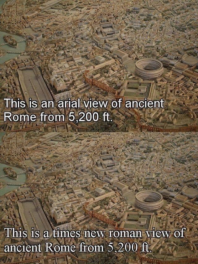 Geology - This is an arialview of ancient Rome from 5,200 ft. u This is a times new roman view of ancient Rome from 5,200 ft