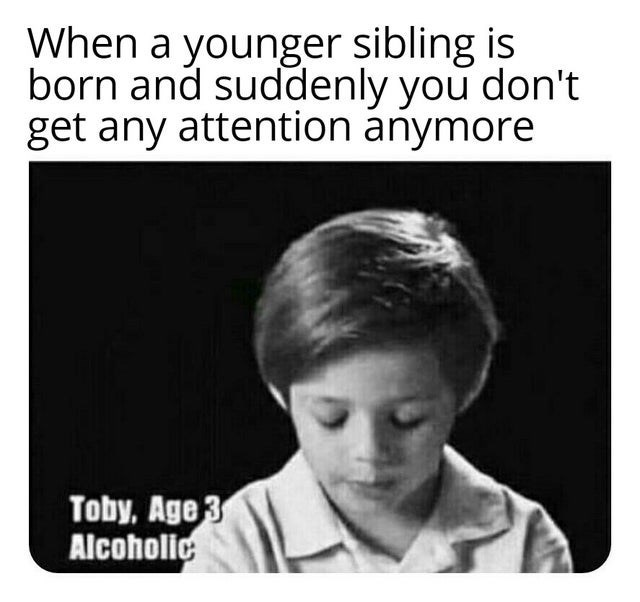 Text - When a younger sibling is born and suddenly you don't get any attention anymore Toby, Age3 Alcoholic