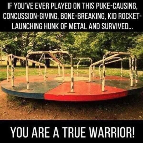 Playground - IF YOU'VE EVER PLAYED ON THIS PUKE-CAUSING, CONCUSSION-GIVING, BONE-BREAKING, KID ROCKET- LAUNCHING HUNK OF METAL AND SURVIVED. YOU ARE A TRUE WARRIOR!