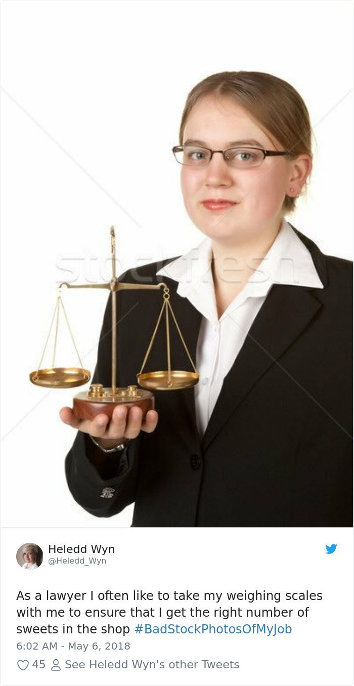 Hand - Heledd Wyn @Heledd_Wyn As a lawyer I often like to take my weighing scales with me to ensure that I get the right number of sweets in the shop #BadStockPhotosOfMyj ob 6:02 AM - May 6, 2018 See Heledd Wyn's other Tweets 45