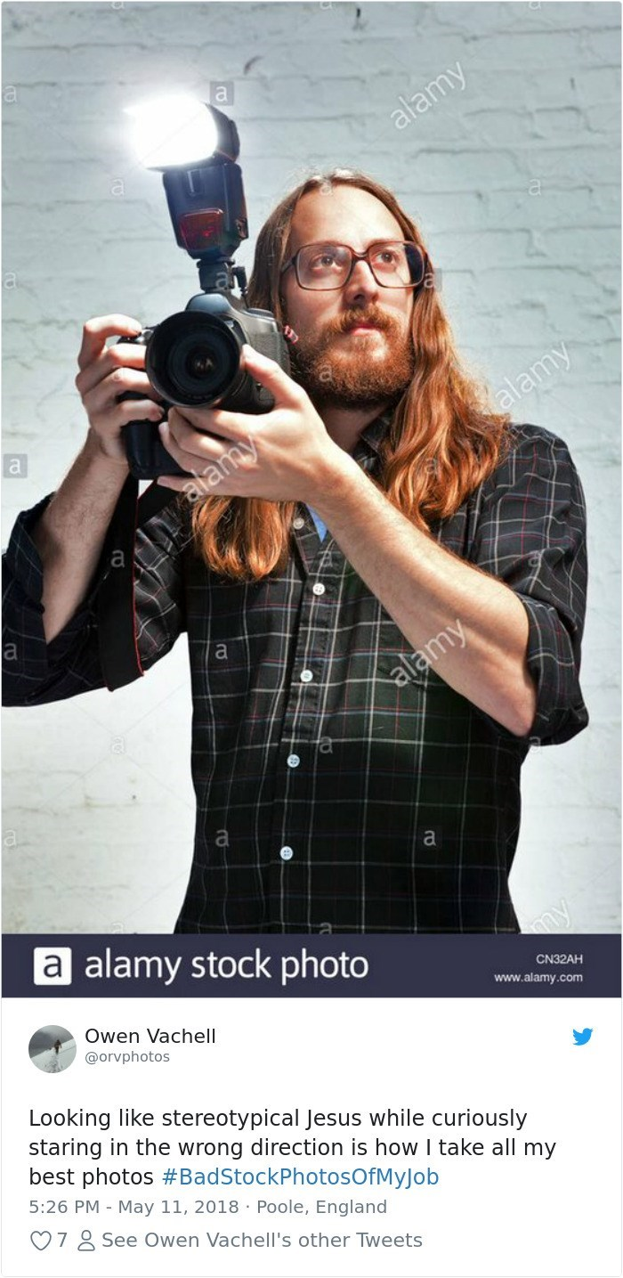 Photograph - a alamy alamy aamy a а alamy a alamy stock photo my Owen Vachell CN32AH www.alamy.com @orvphotos Looking like stereotypical Jesus while curiously staring in the wrong direction is how I take all my best photos #BadStockPhotosOfMyJob 5:26 PM May 11, 2018 Poole, England 7 See Owen Vachell's other Tweets