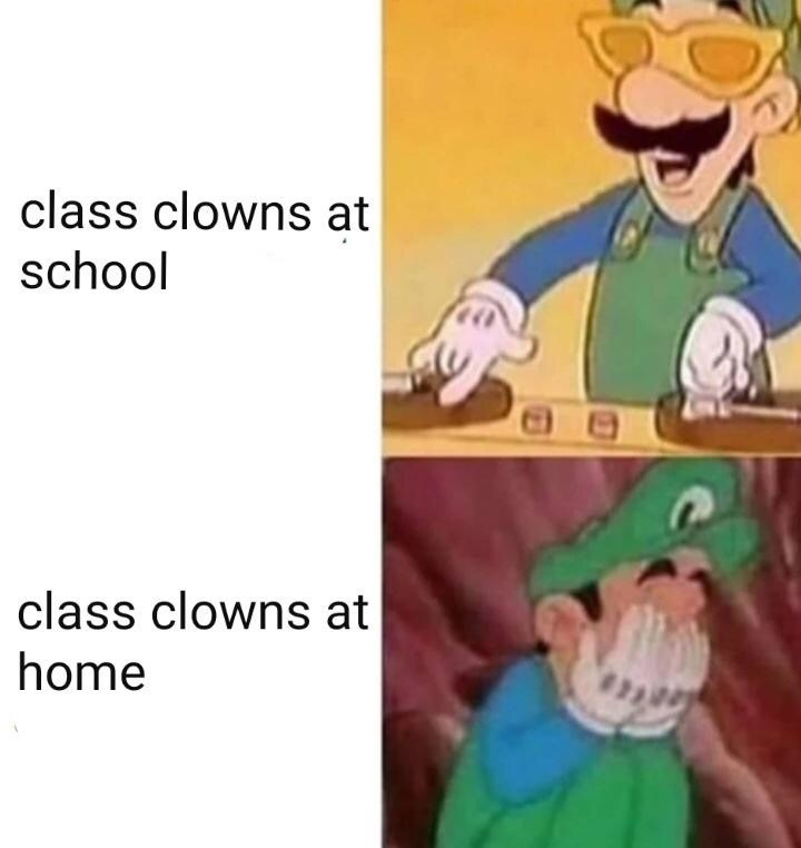 Cartoon - class clowns at school class clowns at home