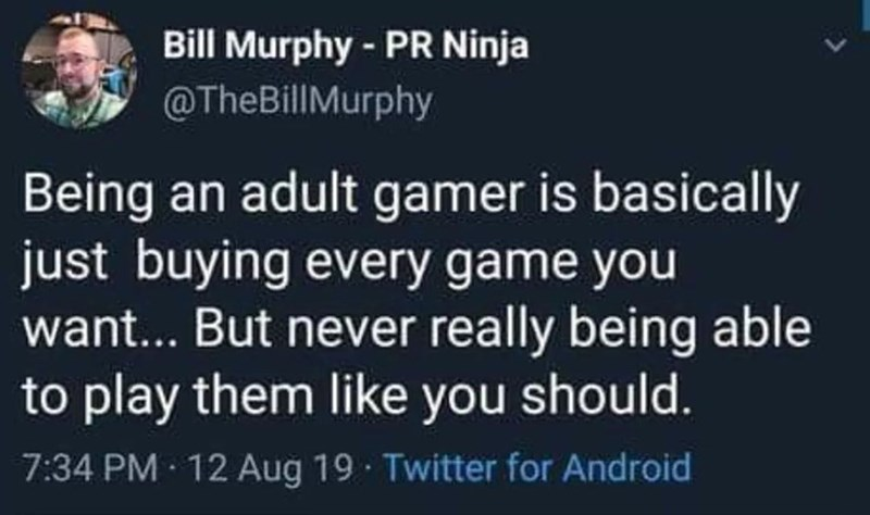 Text - Bill Murphy PR Ninja @TheBillMurphy Being an adult gamer is basically just buying every game you want... But never really being able to play them like you should. 7:34 PM 12 Aug 19 Twitter for Android