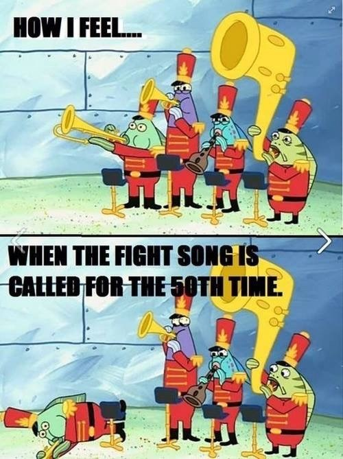 Cartoon - HOW I FEEL... WHEN THE FIGHT SONG IS CALLED FOR THE 50TH TIME.