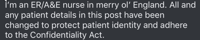 Font - i'm an ER/A&E nurse in merry ol' England. All and any patient details in this post have been changed to protect patient identity and adhere to the Confidentiality Act.