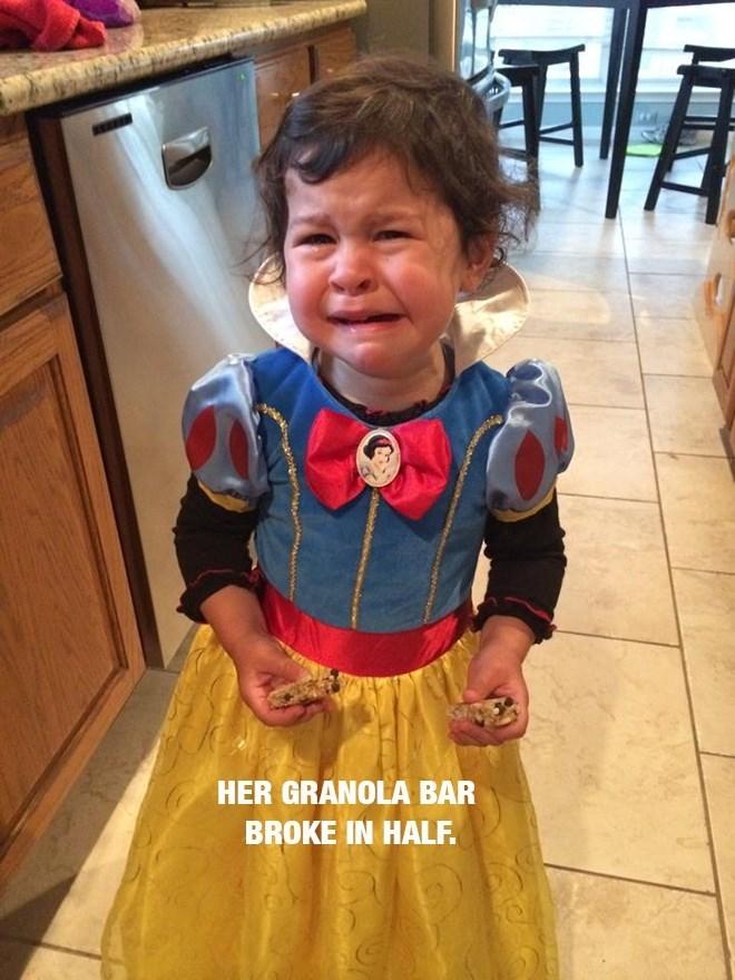 Child - Child - HER GRANOLA BAR BROKE IN HALF.