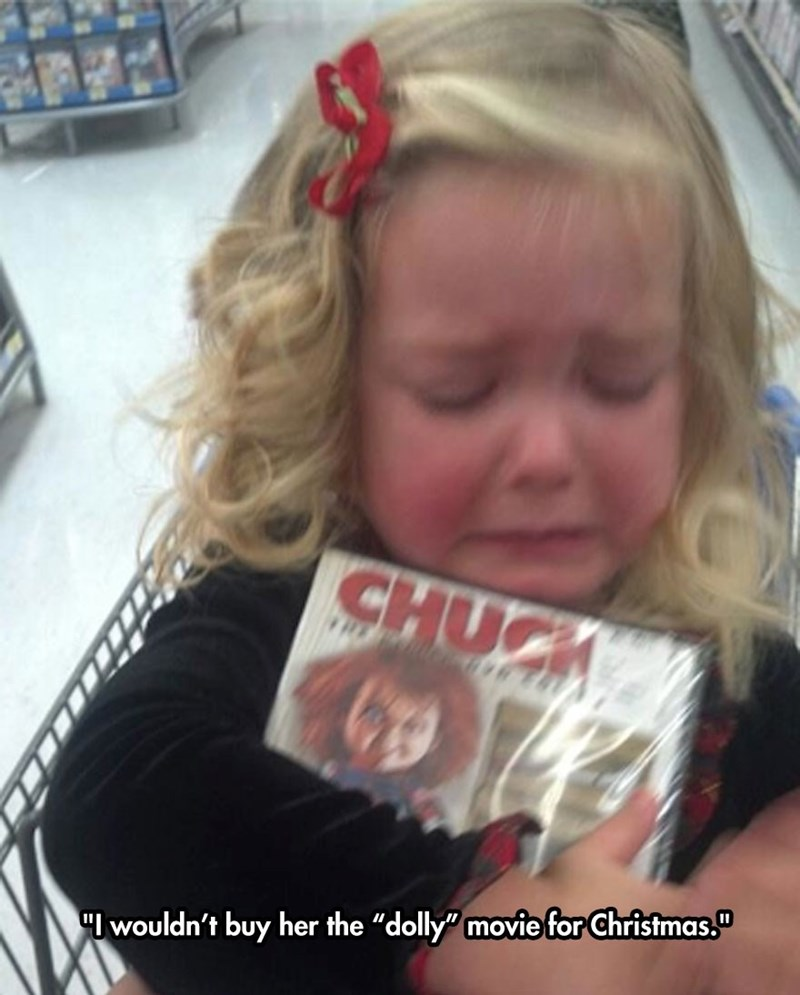"""Child - Hair - CHUCH """"wouldn't buy her the """"dolly"""" movie for Christmas."""