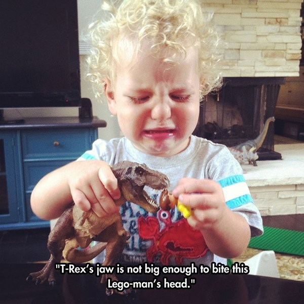 """Child - """"T-Rex's jaw is not big enough to bite this Lego-man's head."""""""