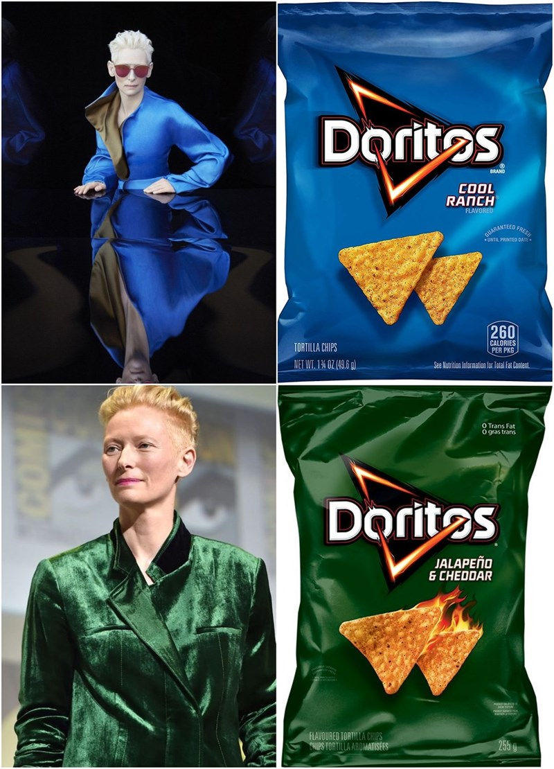 Snack - Doritos BRAND 1000 RANCH FLAVORED FRESH RUARANTEED UNTIL PRINTED DATE 260 CALORIES PER PKG TORTILLA CHIPS NET WT. 1% 0Z (49.6 g) See Nutrition Information for Total Fat Content O Trans Fat O gras trans Dorites JALAPEñO & CHEDDAR FLAVOURED TORTILLA CHIPS CHIPS TORTILLA AROMATISES 255