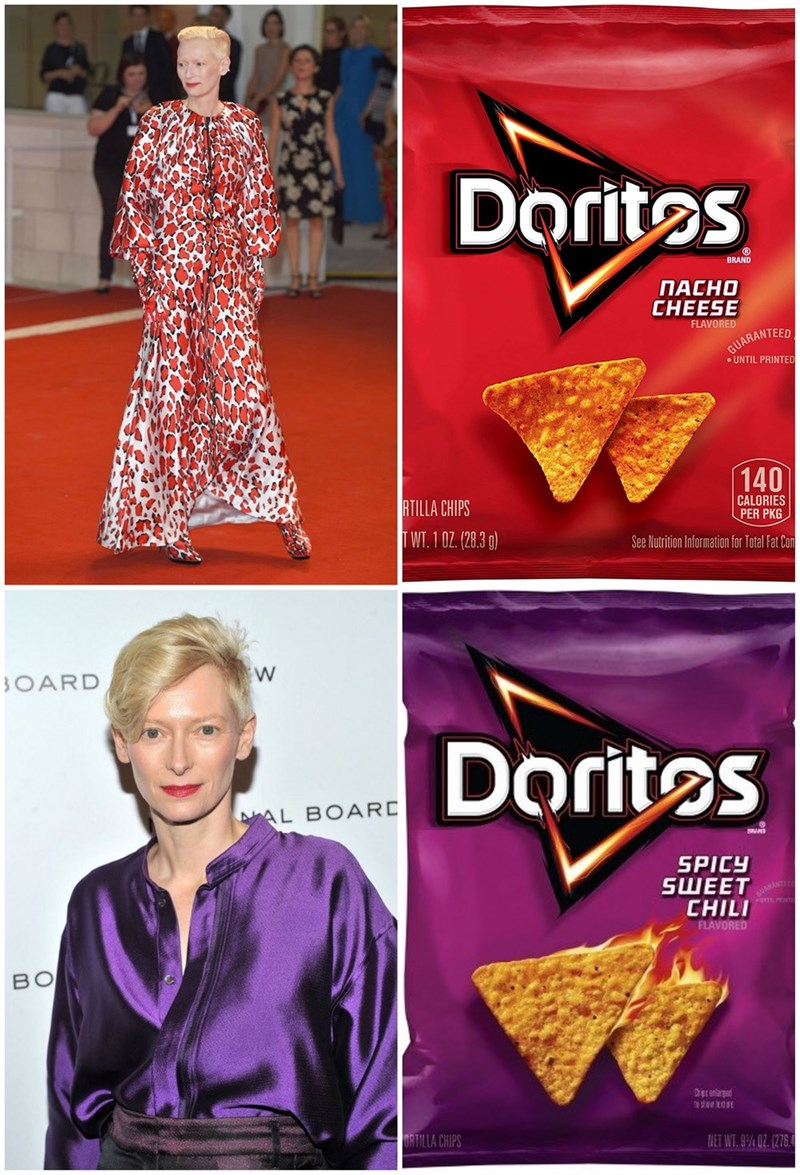 Snack - Doritos BRAND ПАСНО CHEESE FLAVORED GUARANTEED UNTIL PRINTED 140 CALORIES PER PKG RTILLA CHIPS WT. 1 02. (28.3 g) See Nutrition Information for Total Fat Con OARD Doritos AL BOARD SPICY SШEЕТ CHILI FLAVORED BO NET WT.9%02. (276 ORTILLA CHIPS