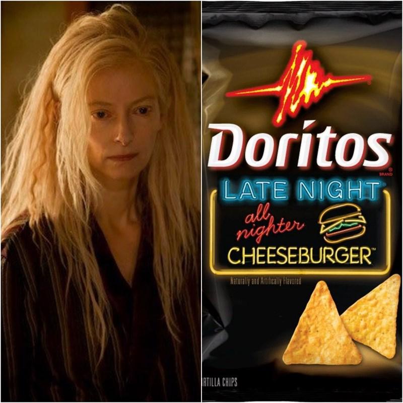 Junk food - Doritos BRAND LATE NIGHT all ighter CHEESEBURGER Katuraly and Artifialy Havare RTILLA CHIPS