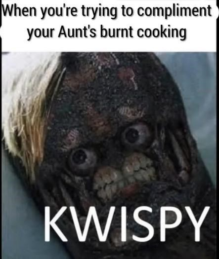 Internet meme - When you're trying to compliment your Aunt's burnt cooking KWISPY