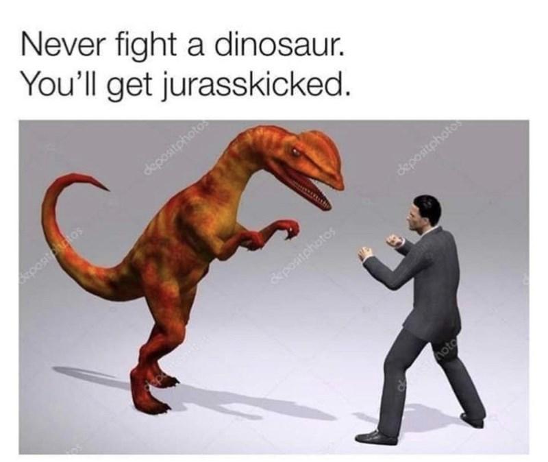 Cartoon - Never fight a dinosaur. You'll get jurasskicked. depositphotos oostoatos depositphoto postohotos oto