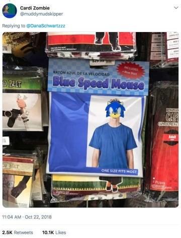 Advertising - Cardi Zombie @muddymudskipper Replying to@DanaSchwartzzz NCLUDES Sat RATON AZUL DE LA VELOCIDAD Blre Speed Mouse D BELT ANAS CAP kie Adul ONE 51ZE FITS MOST 1PUn 11:04 AM-Oct 22, 2018 10.1K Likes 2.5K Retweets