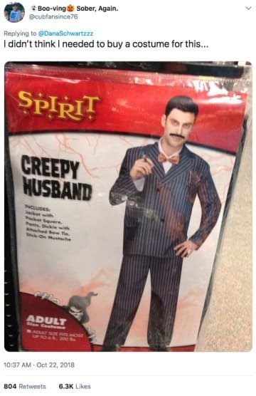 Gentleman - Boo-ving Sober, Again. ecubfansince76 Replying to @DanaSchwartzzz I didn't think I needed to buy a costume for thi... SPIRIT CREEPY HUSBAND NCUDES P ki withe dowTi oMhche ADULT 10-37 AM-Oct 22, 2018 6.3K Likes 804 Retweets