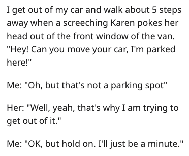"""Text - I get out of my car and walk about 5 steps away when a screeching Karen pokes her head out of the front window of the van. """"Hey! Can you move your car, I'm parked here!"""" Me: """"Oh, but that's not a parking spot"""" Her: """"Well, yeah, that's why I am trying to get out of it."""" Me: """"OK, but hold on. I'll just be a minute."""""""