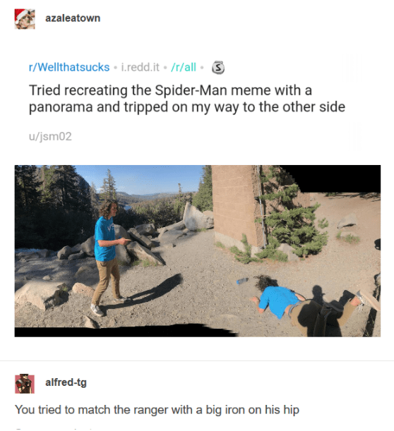 Text - azaleatown r/Wellthatsucks i.redd.it /r/all Tried recreating the Spider-Man meme with a panorama and tripped on my way to the other side u/jsm02 alfred-tg You tried to match the ranger with a big iron on his hip