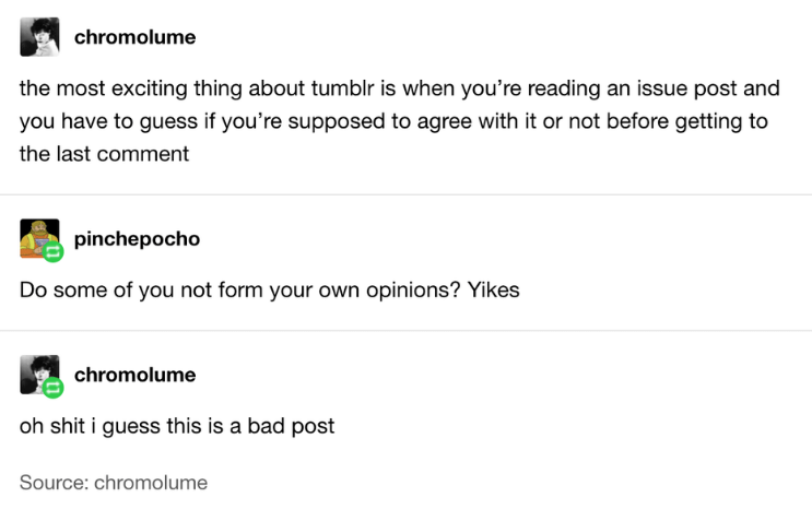 Text - chromolume the most exciting thing about tumblr is when you're reading an issue post and you have to guess if you're supposed to agree with it or not before getting to the last comment pinchepocho Do some of you not form your own opinions? Yikes chromolume oh shit i guess this is a bad post Source: chromolume