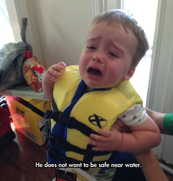 Child - Lyel 312 He does not want to be safe near water.