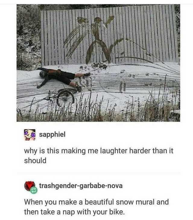 Text - sapphiel why is this making me laughter harder than it should trashgender-garbabe-nova When you make a beautiful snow mural and then take a nap with your bike