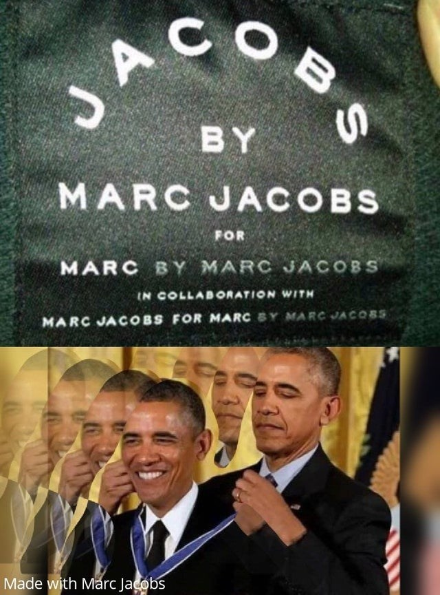 Text - A JAOB BY MARC JACOBS FOR MARC BY MARC JACOBS IN COLLABORATION WITH MARC JACOBS FOR MARC Y MARCJACOBS Made with Marc Jadobs