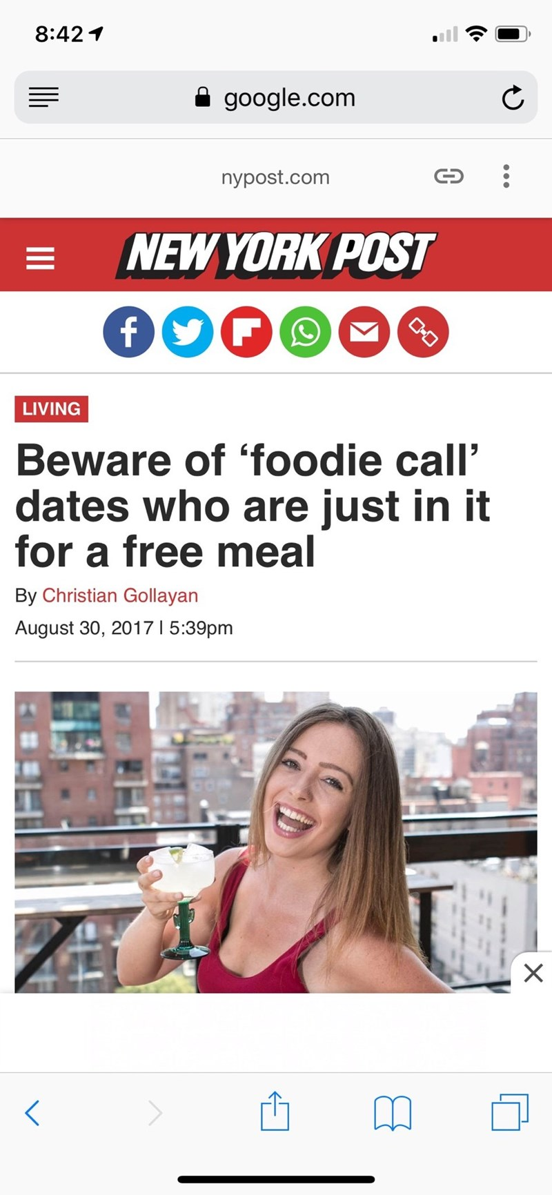 Font - 8:42 google.com nypost.com NEW YORK POST C-O LIVING Beware of 'foodie call' dates who are just in it for a free meal By Christian Gollayan 5:39pm August 30, 2017 < X