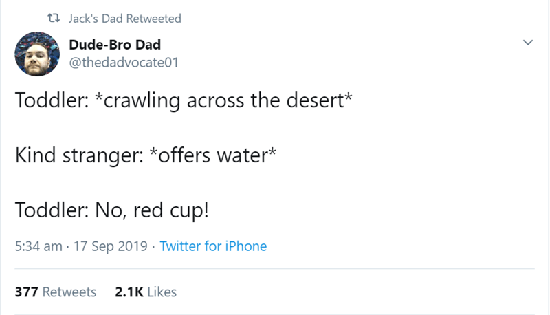 Text - t Jack's Dad Retweeted Dude-Bro Dad @thedadvocate01 Toddler: *crawling across the desert* Kind stranger: *offers water* Toddler: No, red cup! 5:34 am 17 Sep 2019 Twitter for iPhone 2.1K Likes 377 Retweets
