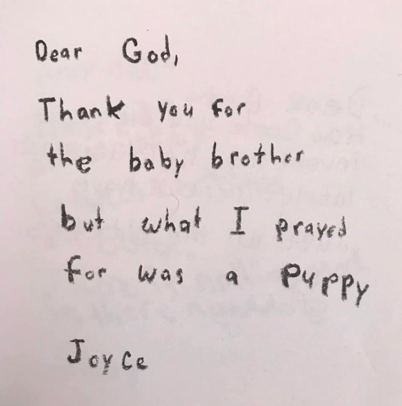 Text - Oear God Than k yeu for the baby brother but what I prayed for was a PuPpy Joy Ce